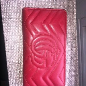 Gucci Bags - Gucci Red Marmont new around soft wallet